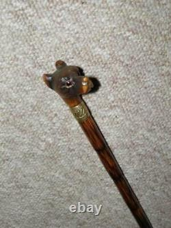 Antique Ladies Walking Stick Carved Terrier Head With Glass Eyes & Gold Collar