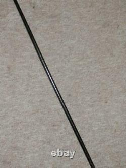 Antique Ladies Walking Stick-Hand-Carved Floral Cane & Silver Collar-88.5cm long