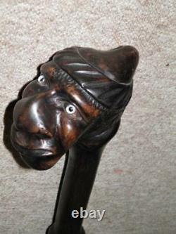 Antique Large Black Thorn Rustic Hand-Carved Caricature Face Walking Stick/Cane