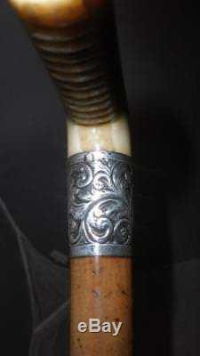 Antique Malacca Walking/Dress Cane Hand Carved Handle With Floral Design Collar