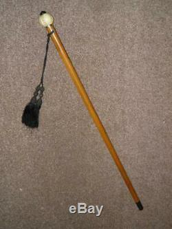 Antique Malacca Walking Stick/Cane With A Hand Carved Pomegranate Top 91cm