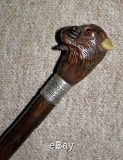 Antique Mechanical Hand Carved Bulldog Head Walking Stick/Cane-H/m Silver 1924