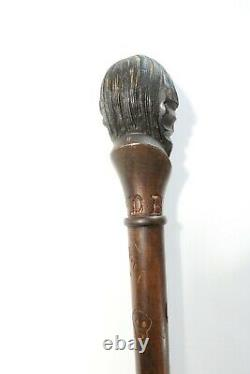 Antique Native American Dartmouth Fraternity College Carved Wood Walking Stick