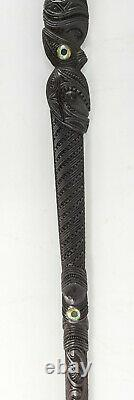 Antique New Zealand Maori Tribal Carved Cane Walking Stick Mother of Pearl