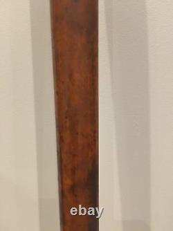 Antique Old Carved Brass Metal Collar Wooden Walking Stick