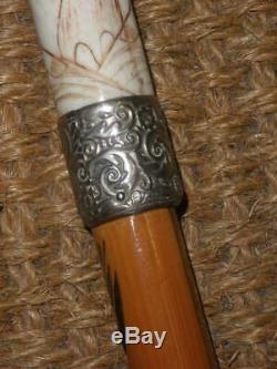 Antique Oriental Themed Bamboo Walking Cane With Hand Carved Chinese Top & Shaft