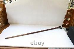 Antique Original Fine Dog Face Carved Handle Wooden English Walking Stick NH3546