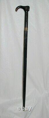Antique Primitive Hand Carved Cane, Walking Stick With Hidden Sword 37 1/2