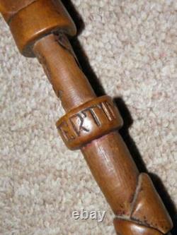 Antique Prisoner of War Westertimke German Walking Stick With Hand-Carved Shaft