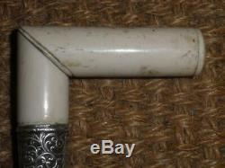 Antique Repousse Silver Bovine Bone Carved Walking/Dress Cane'JAC' 93cm