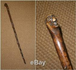 Antique Rustic Thorny Walking Stick/Cane With Hand Carved Grotesque Face Top