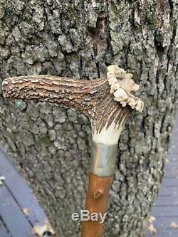 Antique Stag Horn Carved European Roe Deer Cane Walking Stick SUPER 35