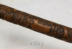 Antique Stag Horn Deer Antler German Black Forest Carved Walking Stick Cane