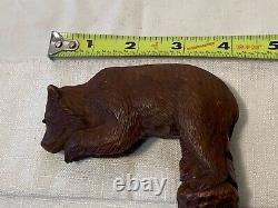 Antique Swiss Black Forest Wood Carved BEAR Glass Eyes Walking Stick Cane c1920