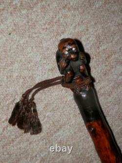 Antique Tribal Walking Stick/Cane Hand-Carved Sitting Monkey Top 80cm