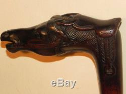 Antique Victorian Carved Horse Racing Country Hunting Walking Stick Cane Bridle