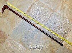Antique Vintage Cane Walking Stick Hand Carved Bird Handle Polished Wood Shaft