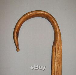 Antique Vtg Dated 1918 Folk Art Carved Wooden Cane Bible Verses Walking Stick