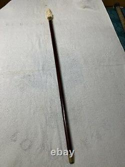 Antique Walking Stick Bovine Bone Carved