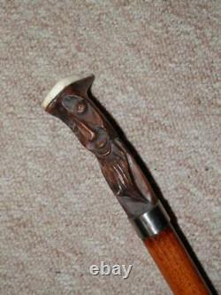 Antique Walking Stick/Cane Hand-Carved Mans Head Top & Silver Collar 93cm