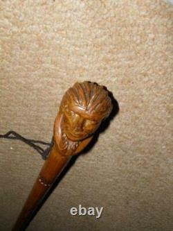Antique Walking Stick/Cane With Hand-Carved Native American Indian Man Top 89cm