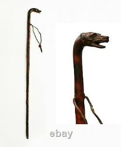 Antique Walking Stick, Carved Dog/Wolf Head