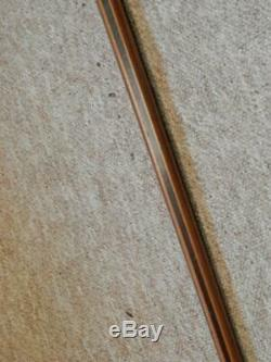 Antique Walking Stick Fritz Handle With Carved Dog H/m Silver Collar B'ham 1925