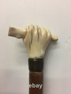 Antique Walking Stick Solid Walnut Carved Bone Handle Representing a Hand Italy