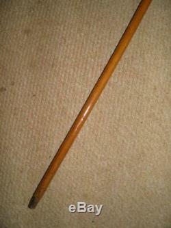 Antique Walking Stick With Hand Carved Bovine Horn Saddle & Stirrups Themed Handle