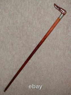 Antique Walking Stick With Hand-Carved Lurcher Head Top & Patterned Collar 86cm