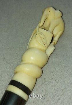 Antique Walking/Swagger Stick Carved Bovine Bone Elephant Handle Raj India c1900