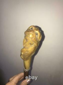 Antique Walking stick Handle Carved women carved from horn 1900s beautiful item