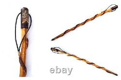 Antique Wood Free Masons Cane With Carved Snake Around Walking Stick folk art