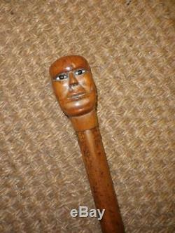 Antique Wooden Primitive Carved Face/Head Topped Walking Stick