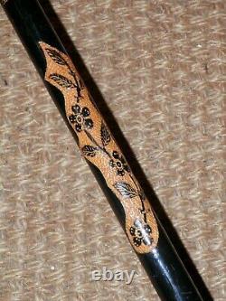 Antique Wooden Turkish Devrek Intricately Hand Carved Shaft Walking Stick 93cm
