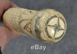 Antique cane walking stick carved dragon hidden compass top original