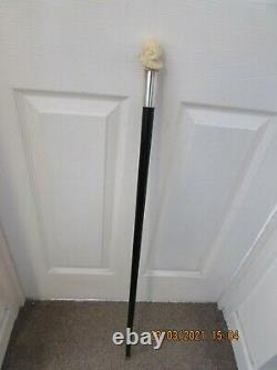 Antique ebony walking stick 92cm carved ladies head with collar top