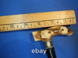 Antique fantastic Carved two bull Dog Head Cane Walking Stick Handle Ca 1900
