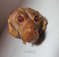 Antique hand carved nut figural dog wood glass eye cane walking stick Folk Art