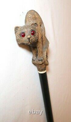 Antique hand carved wood Folk Art figural cat red eyes walking stick cane