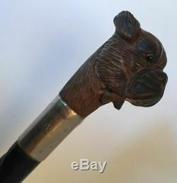 Antique walking stick Carved Dog Head Articulated Silver collar black forest