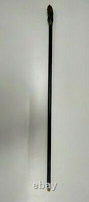 Antique walking stick cane Carved Bird Owl Victorian Glass eyes Silver Collar