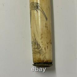 Antique walking stick cane carved