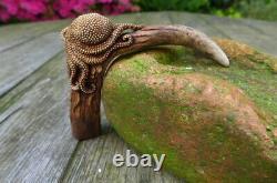 Antler deer real handle octopus design walking stick cutlery ect. Hand carved A
