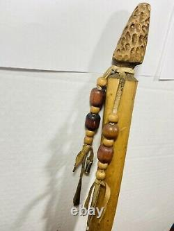 Authentic OLD Native American Medicine Man Walking Stick Hand-Carved Staff