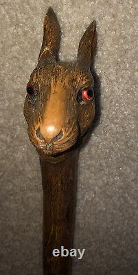 BEAUTIFUL Carved Wood rabbit walking stick/cane/staff Long 52 Antique