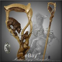 Bear Gazelle wooden walking stick cane hiking staff hand carved comfortable