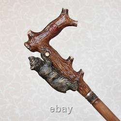 Bear Walking Stick Cane Wood Hand carved handle Hiking Staff Grizzly handcrafted