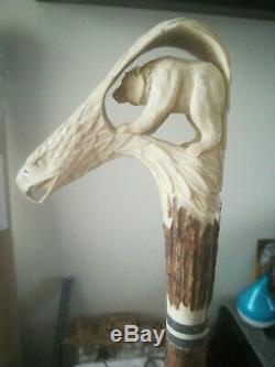 Bear inside & Eagle Head Walking Stick Hand Carved from Deer Antler
