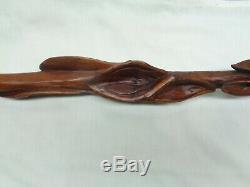 Beautiful Antique Wood Carved Walking Stick with6 Cimbles